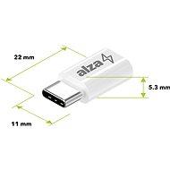 AlzaPower Mini USB-C – micro USB White - Redukcia
