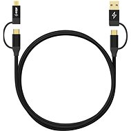 AlzaPower MultiCore 4in1 USB 1 m čierny - Dátový kábel