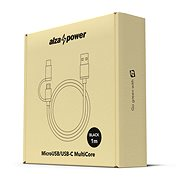 AlzaPower MultiCore Micro USB + USB-C 1 m Black - Dátový kábel