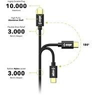 AlzaPower AluCore Charge 2.0 USB-C 1 m Black - Dátový kábel