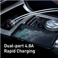 Baseus Digital Display Dual USB 4,8 A Car Charger 24W Silver - Nabíjačka do auta