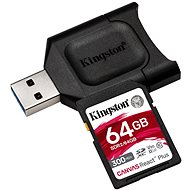 Kingston Canvas React Plus SDXC 64GB + SD adaptér a čítačka kariet - Pamäťová karta