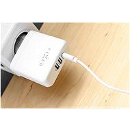 FIXED Travel s USB-C a 2× USB výstupom a USB-C/USB-C káblom podpora PD 45 W biela - Nabíjačka do siete