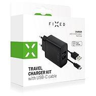 FIXED Smart Rapid Charge 15 W s 2× USB výstupom a USB/USB-C káblom 1 m čierna - Nabíjačka do siete