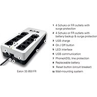 EATON UPS 3S 850 FR Tower, USB, USB nabíjačka - Záložný zdroj