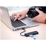 Vention USB 2.0 to 3× USB/TF/SD/Micro USB-B HUB 0,15 m Black ABS Type - USB Hub