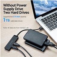 Vention 4-Port USB 2.0 Hub with Power Supply 0,15 m Black - USB Hub