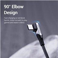 Vention Type-C (USB-C) 90° <-> USB 2.0 Cotton Cable Gray 0.25 m Aluminum Alloy Type - Dátový kábel