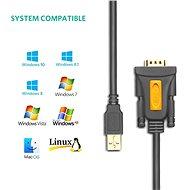 Ugreen USB 2.0 to RS-232 COM Port DB9 (M) Adaptér Cable Black 1 m - Redukcia