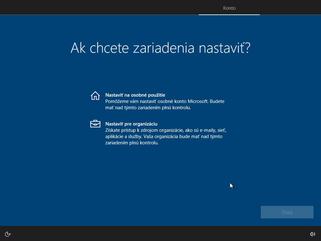 Deviate okno inštalácie Windows 10