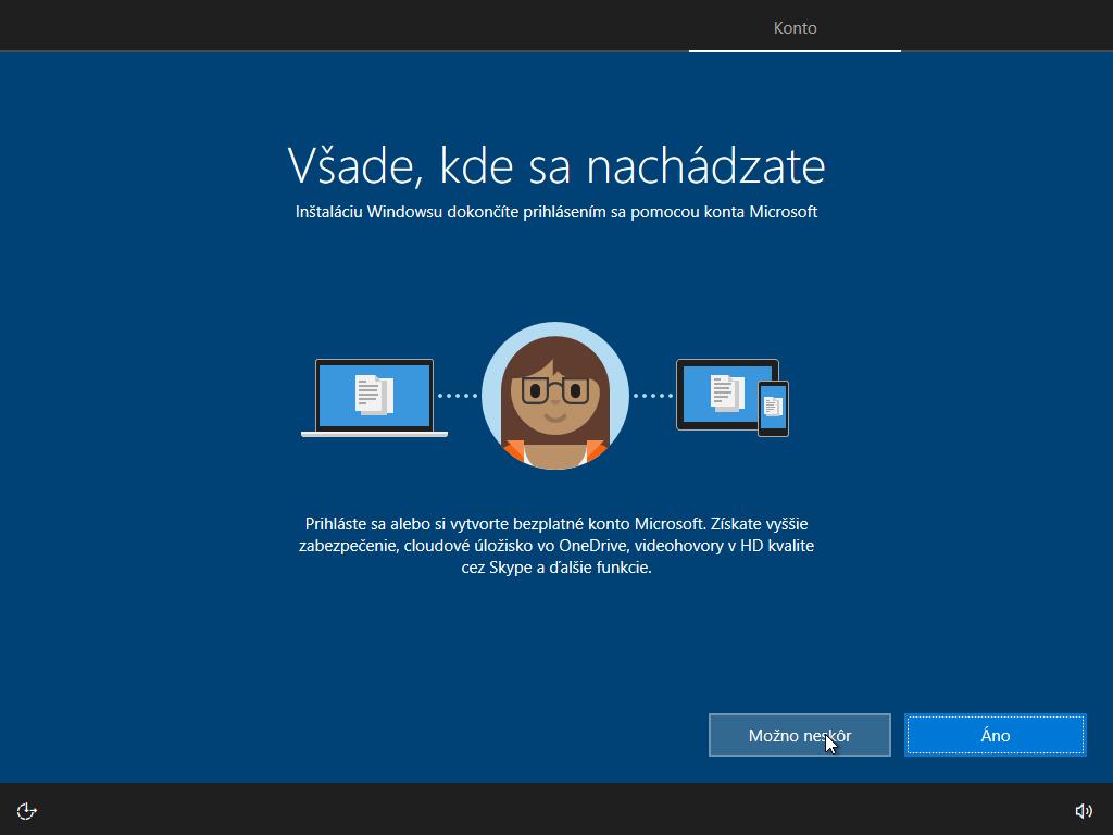 Desiate okno inštalácie Windows 10