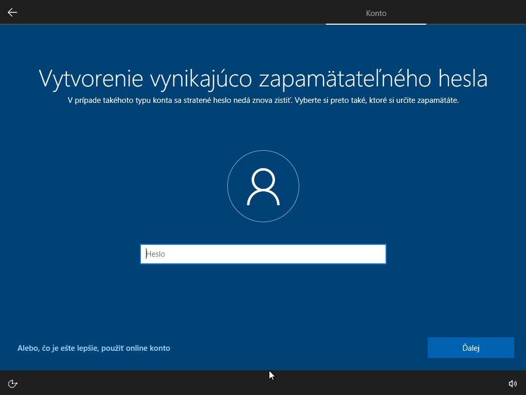 Jedenáste okno inštalácie Windows 10