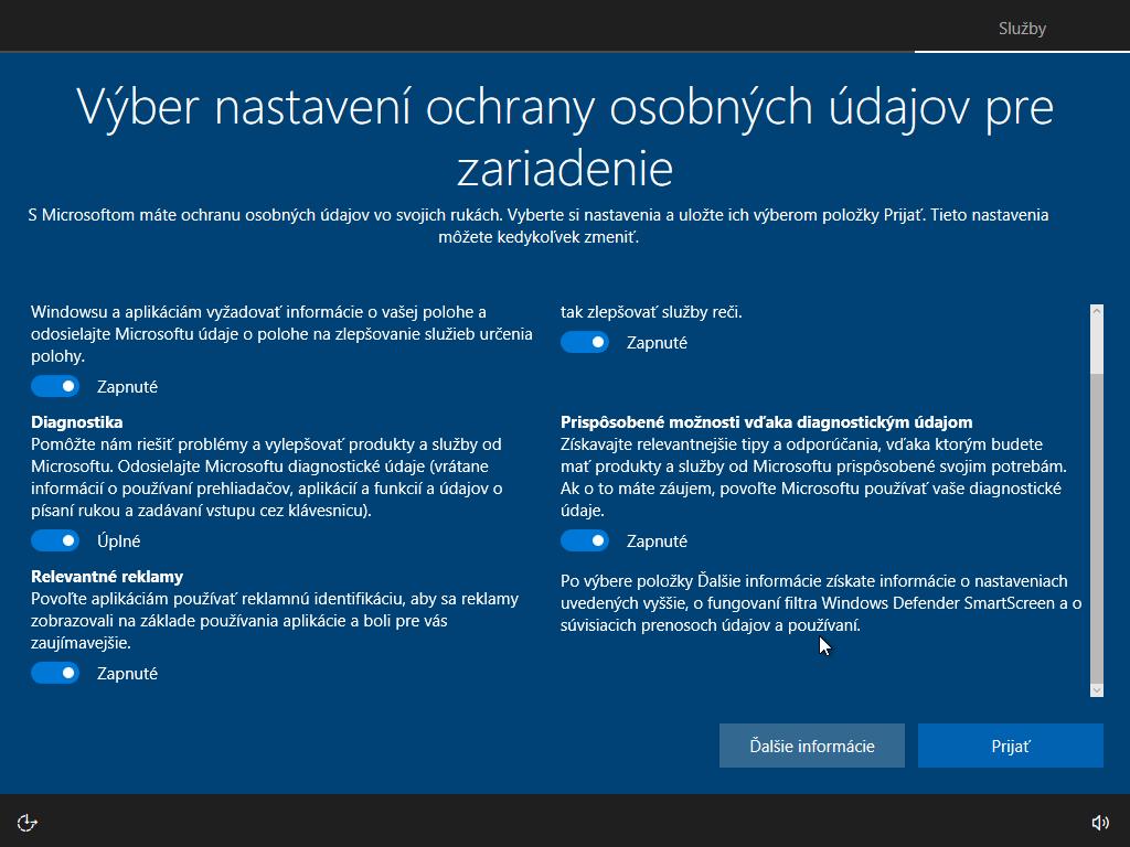 Dvanáste okno inštalácie Windows 10