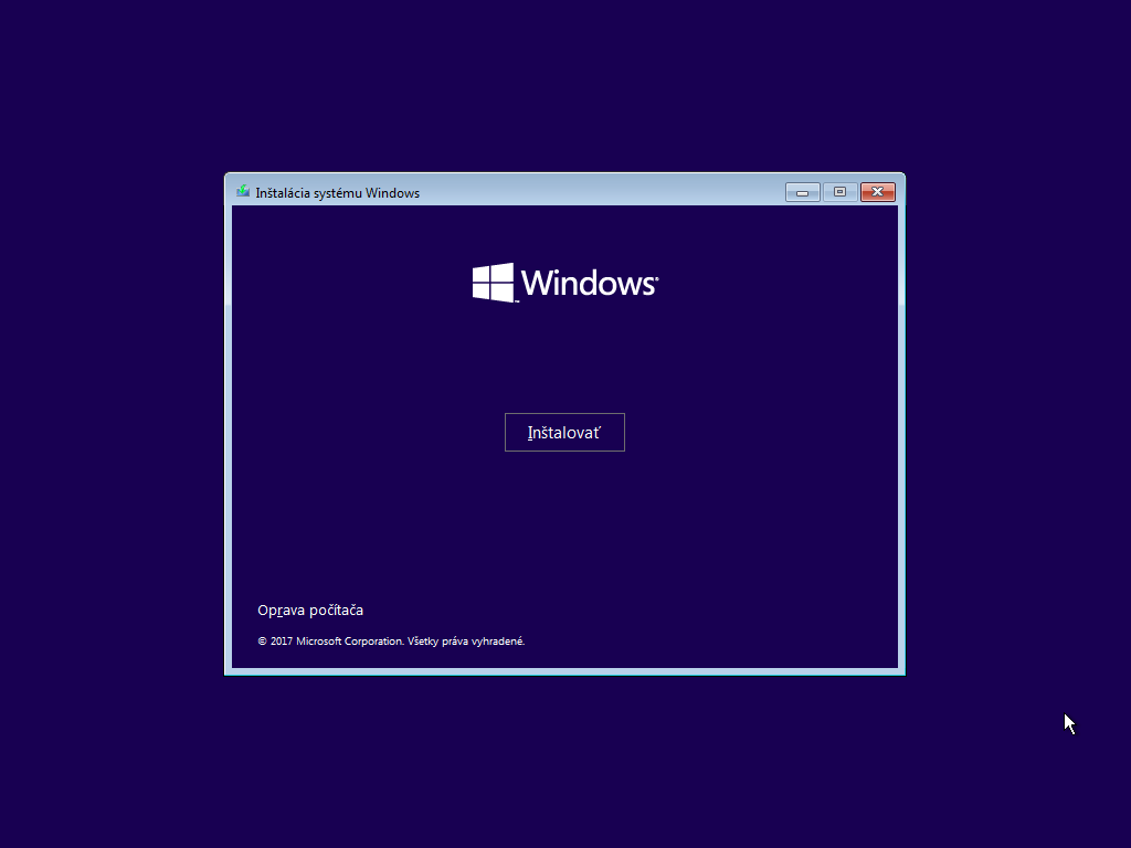 Druhé okno inštalácie Windows 10