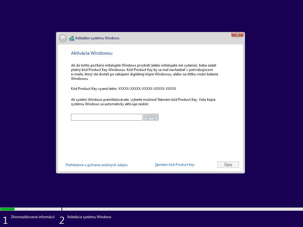 Tretie okno inštalácie Windows 10