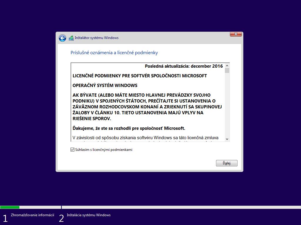 Štvrté okno inštalácie Windows 10