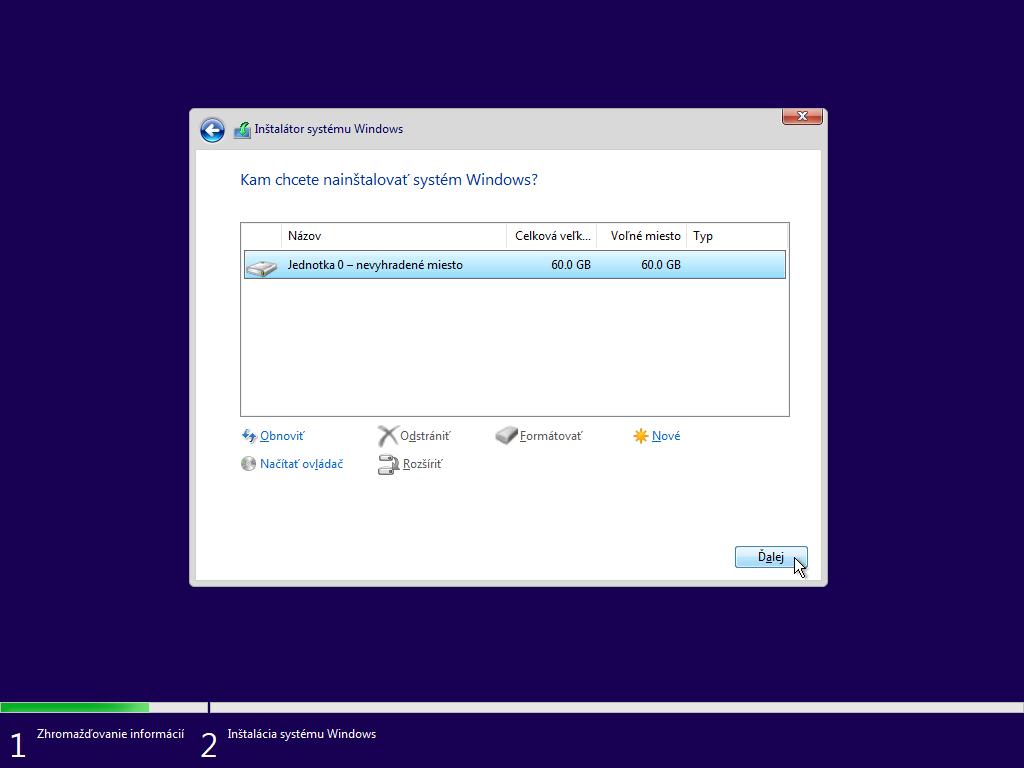 Šieste okno inštalácie Windows 10