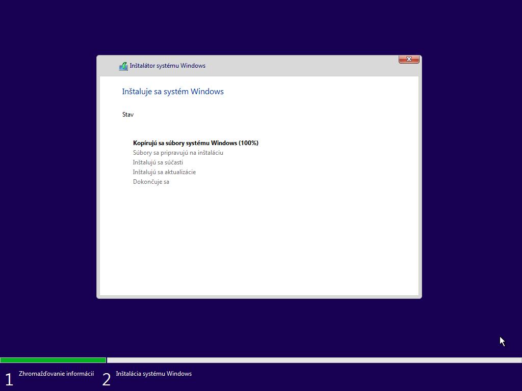 Siedme okno inštalácie Windows 10
