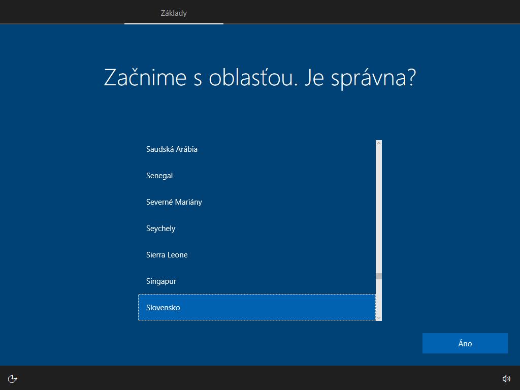 Ôsme okno inštalácie Windows 10
