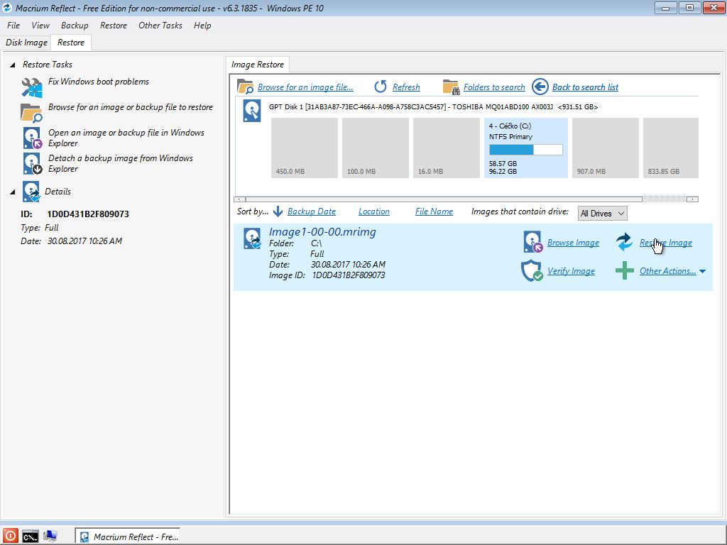 Obnova disku v prostredí Windows PE
