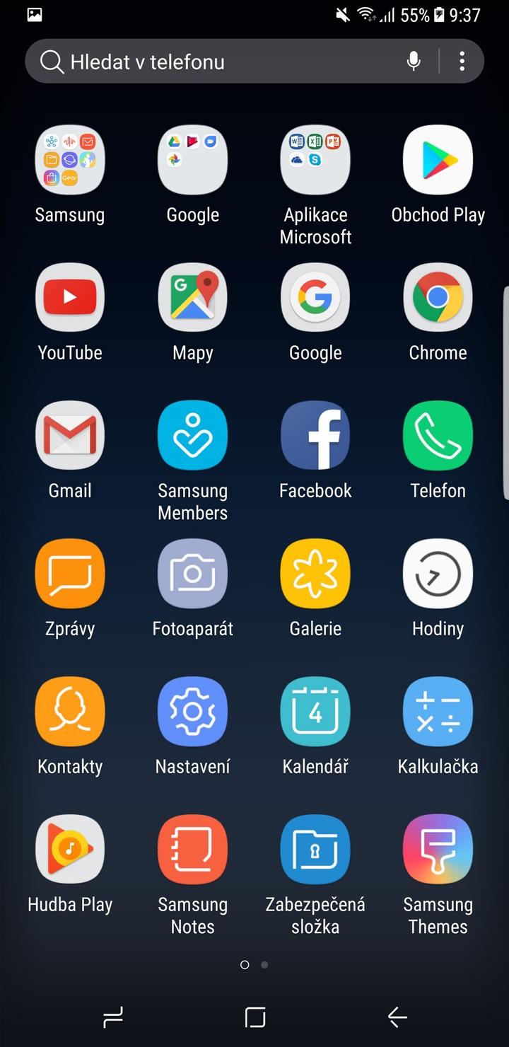 Samsung Galaxy S8 a S8+, menu