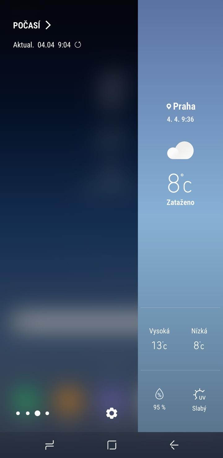 Samsung Galaxy S8 a S8+, bočný panel