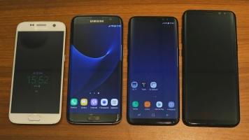 Porovnanie nových lodí so staršou generáciou. Zľava: Galaxy S7, S7 Edge, S8, S8+