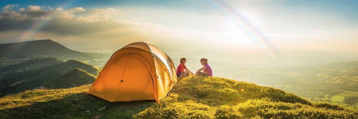 Treking; Horská turistika; Stan; Západ slnka