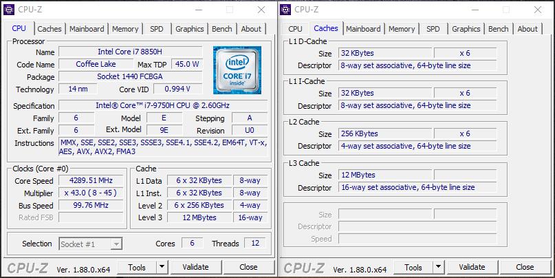 MSI GS75 Stealth 9SG – CPU Info