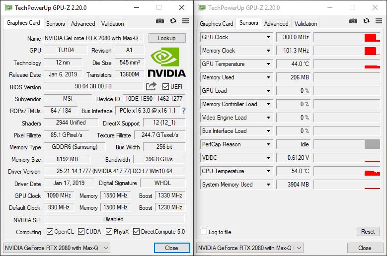 MSI GS75 Stealth 9SG – GPU Info