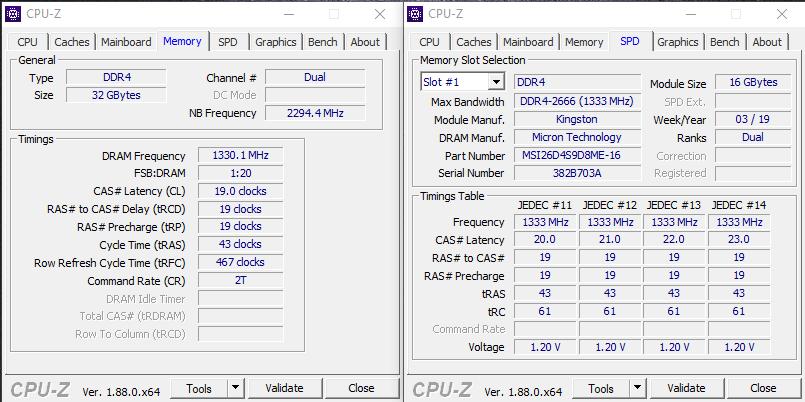 MSI GS75 Stealth 9SG – RAM Info