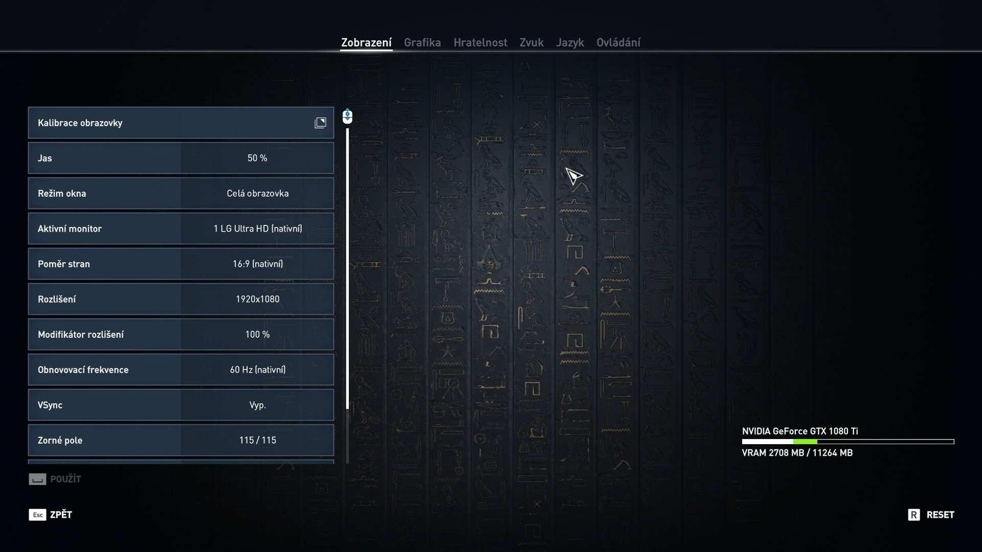 Assasin's Creed: Origins nastavenie detailov