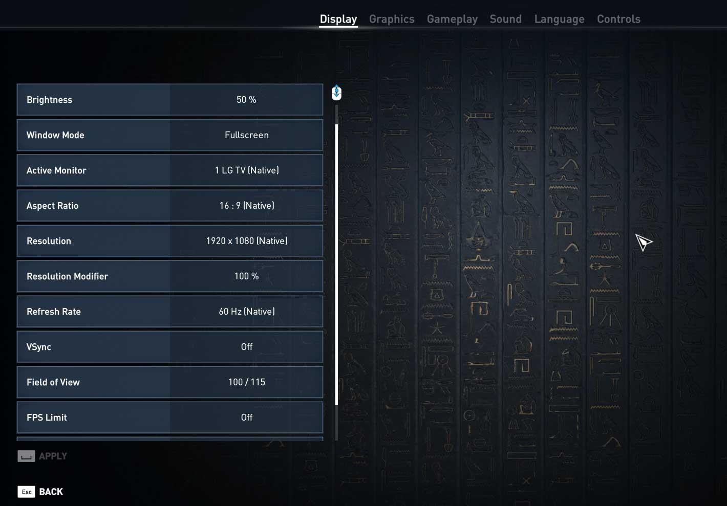 Assassin's Creed: Origins nastavení videa