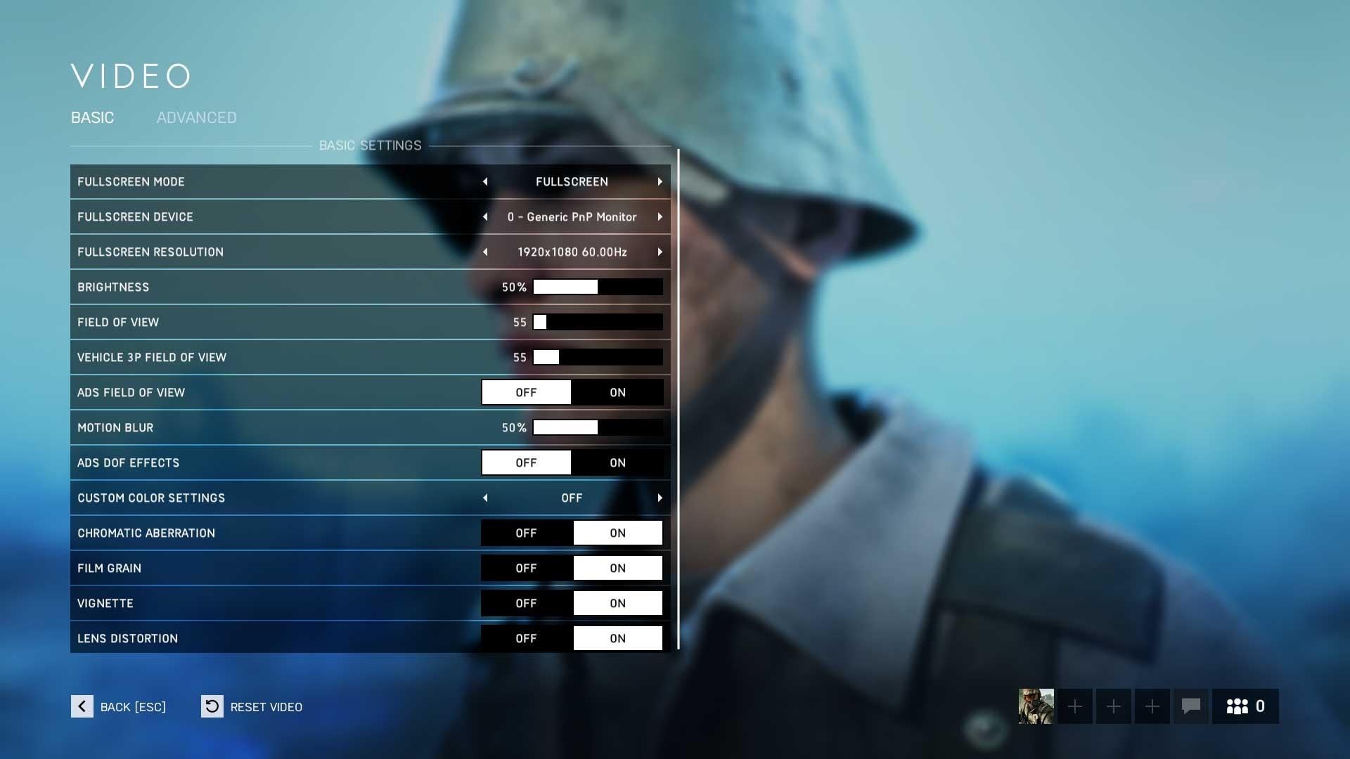 Battlefield 5 základní nastavení