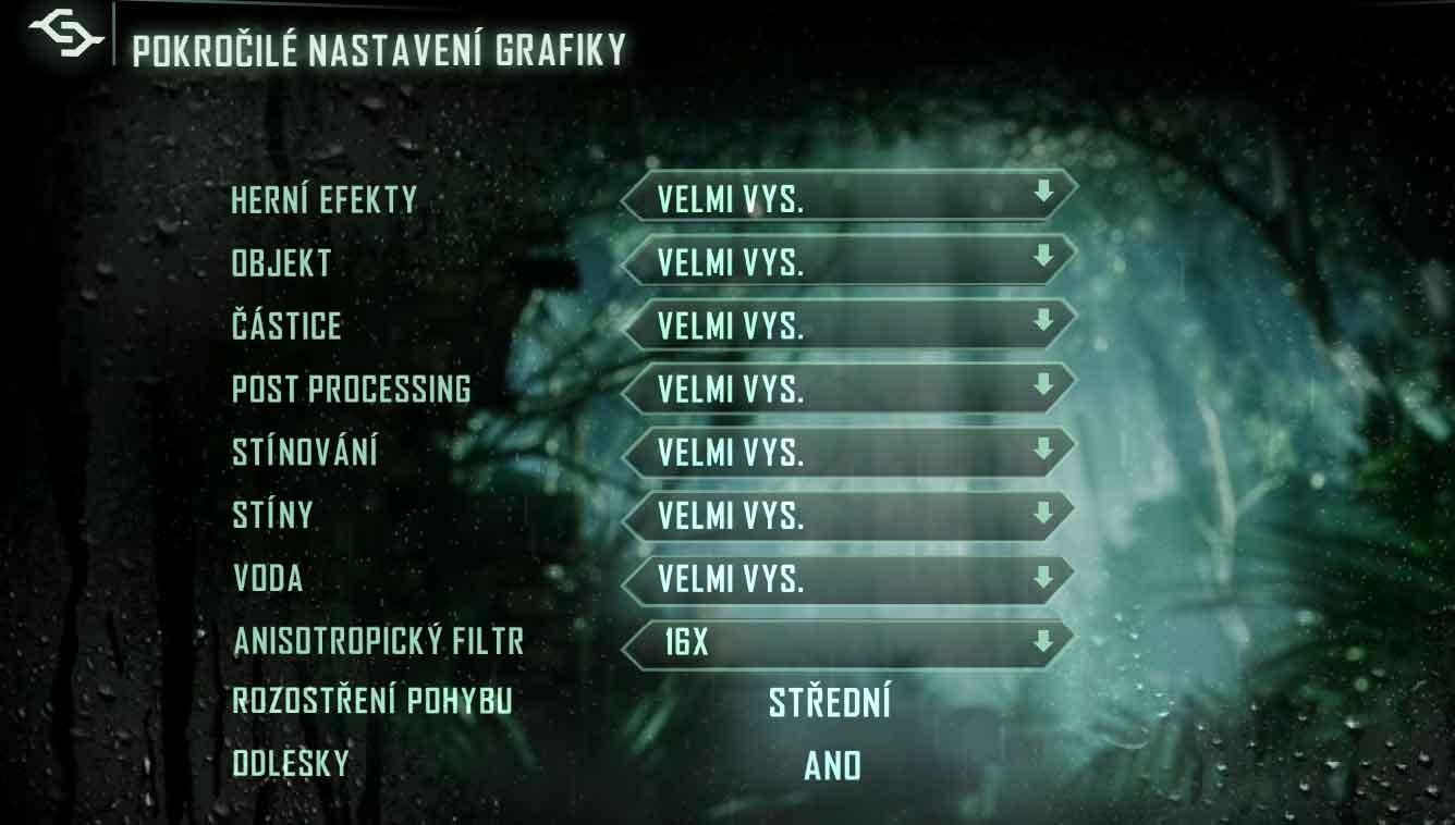 Crysis 3 nastavenia podrobné
