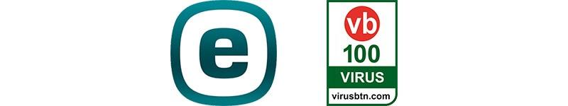 Eset logo, vírus bulletin VB100
