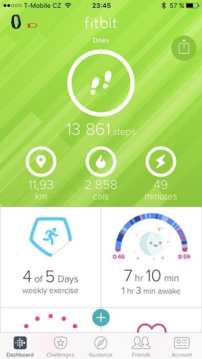 Fitbit Alta HR, aplikácia