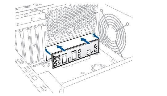 Ako zostaviť PC. I/O shield; kryt zadných konektorov základnej dosky