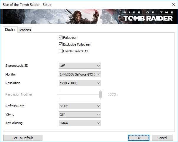 Rise of the Tomb Raider; nastavenie videa