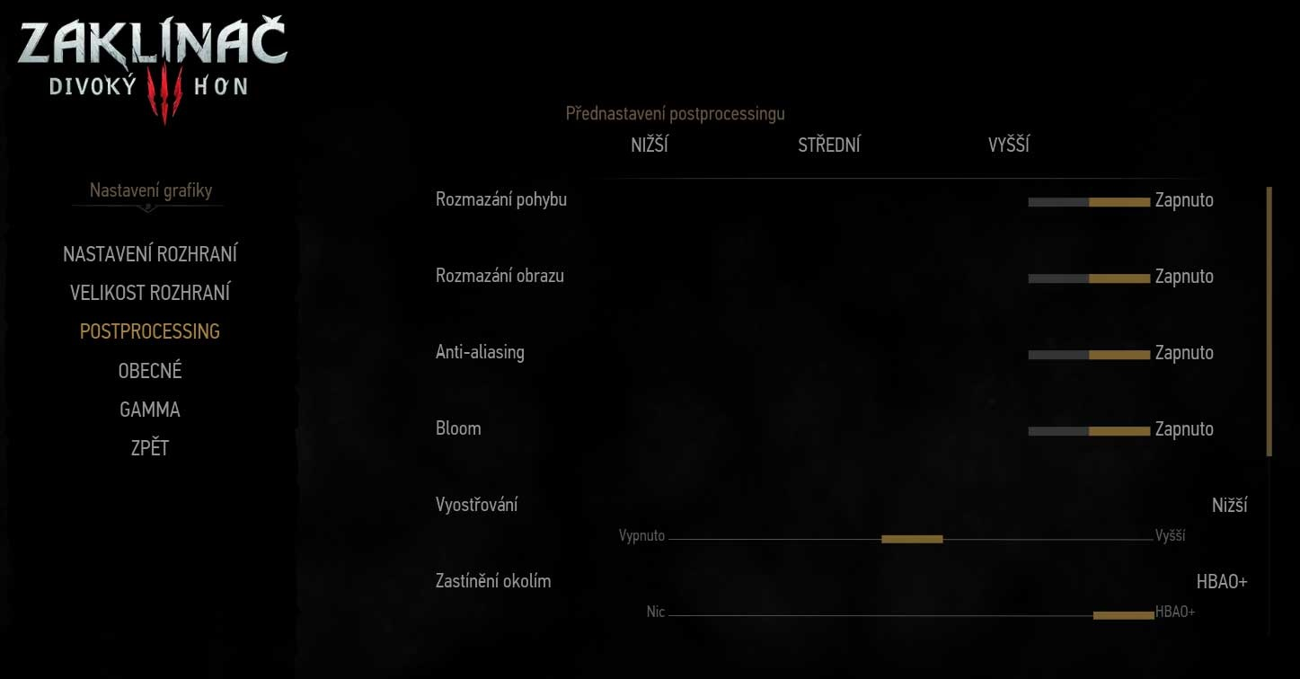 The Witcher 3: Wild Hunt nastavenie postprocesing 1