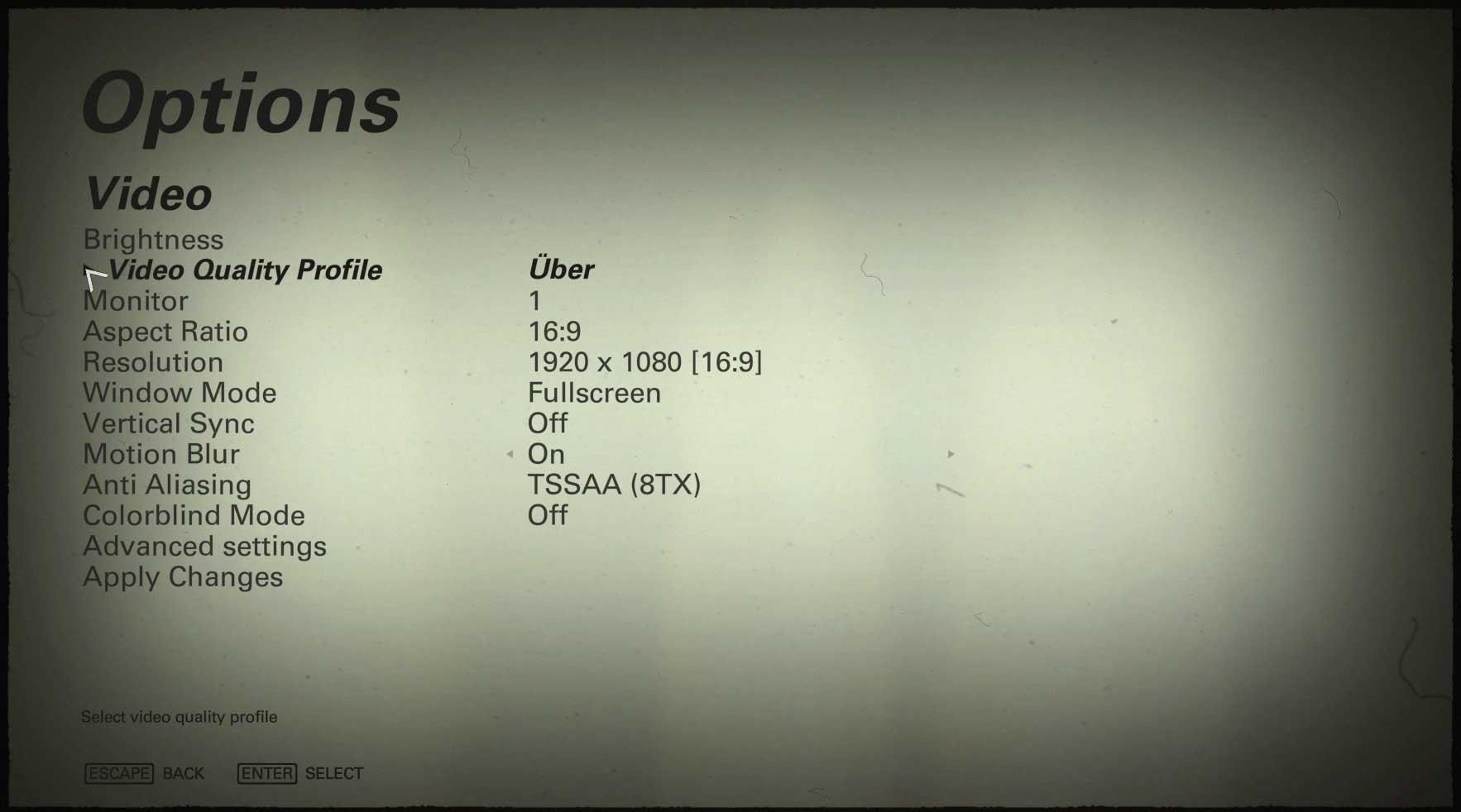 Wolfenstein II: The New Colossus nastavenie video