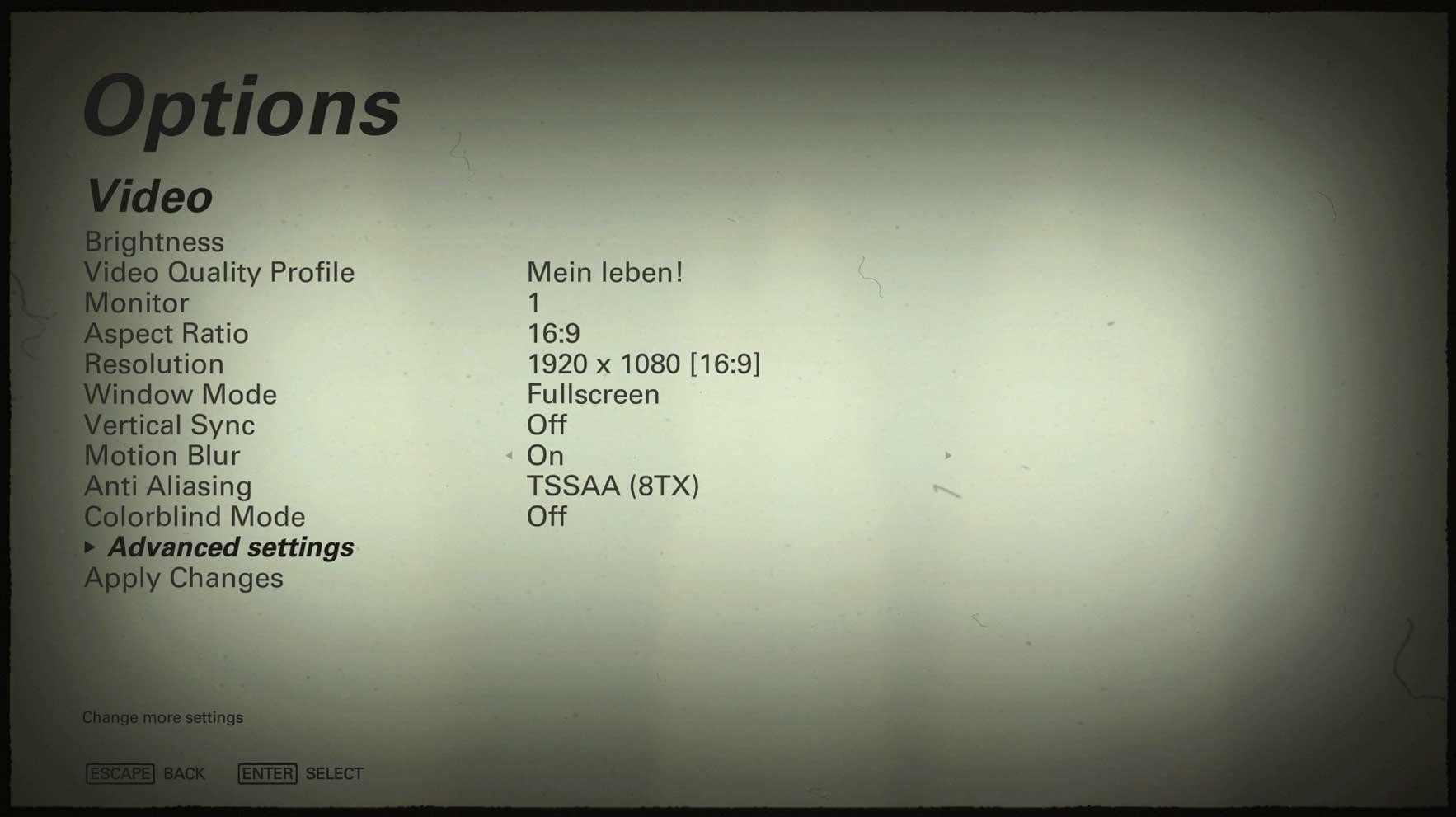 Wolfenstein II: The New Colossus nastavení video