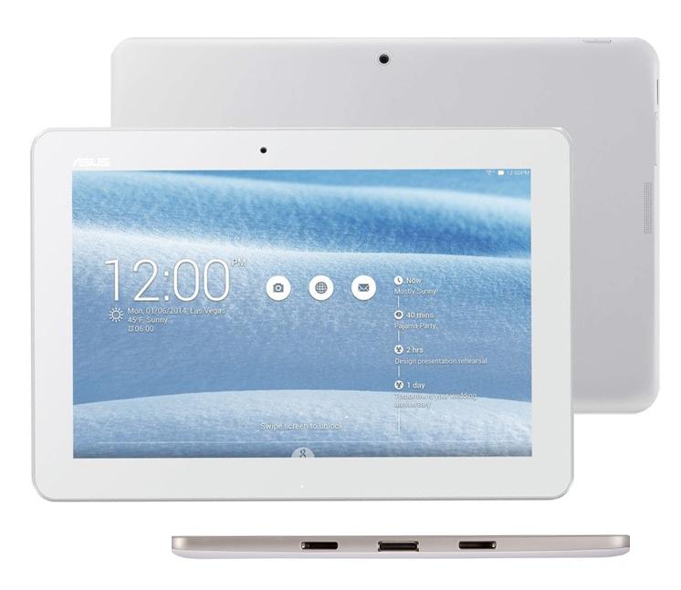 Tablet Asus Transformer Pad spodní hrana, displej a zadní strana s kamerou