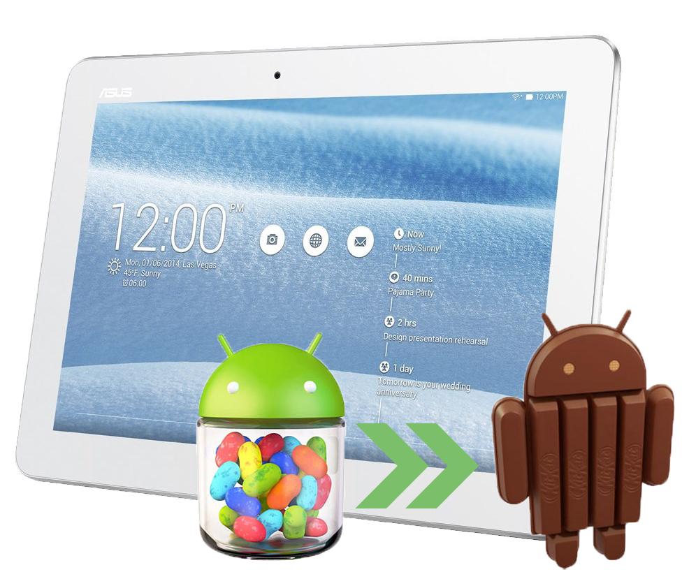 Tablet Asus a obrázky androidu JellyBean a KitKat