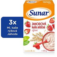 Sunárek jahodová kašička - 3x 225g - Mliečna kaša