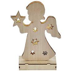 EMOS LED vianočný anjelik drevený, 2× AA, teplá biela, časovač - Vianočné osvetlenie