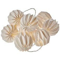 EMOS LED vánoční girlanda – 10× žluté pap. koule, 2×AA, teplá bílá, čas. - Vianočné osvetlenie