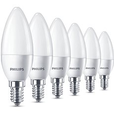 Philips LED Sviečka 5,5 - 40 W, E14, 2700 K, matná, set 6 ks - LED žiarovka