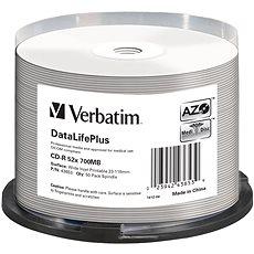 VERBATIM CD-R 80 52× PRINT. Wide Silver Inkjet spindl 50pck/BAL - Médium