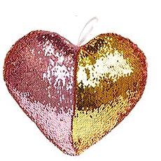 Vankúšik v tvare srdca s flitrami ružový - Vankúš